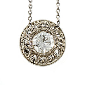 950 Platinum with 0.53ct Domed Round Diamond Pendant Necklace