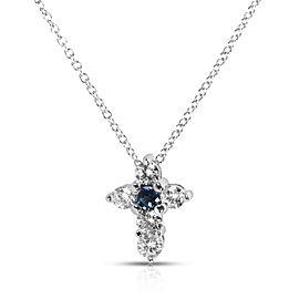 BRAND NEW Sapphire & Diamond Cross Pendant in 14K White Gold (1.00 CTW)