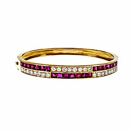 18K Yellow Gold with Square Ruby & Diamond Hinged Bangle Bracelet