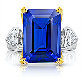 Platinum 18K Yellow Gold 13.97ct. Tanzanite 0.91ctw. Diamond Ring Size 7