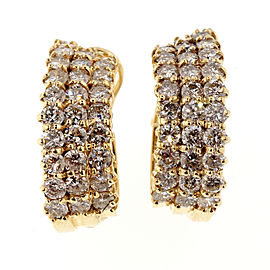 14K Yellow Gold 4.25ct Diamond 3 Row Hoop Earrings