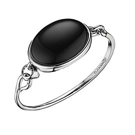 Di Modolo Black Agate Bangle Bracelet in Plated Rhodium MSRP 450