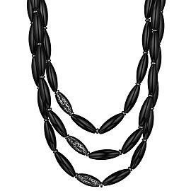 BRAND NEW Di Modolo Black Agate Necklace in Sterling Silver MSRP 895
