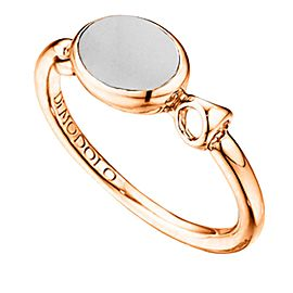 Di Modolo Lolita White Agate Ring Sterling Silver plated 18k Rose Gold MSRP 225