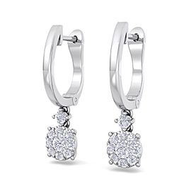 GLAM ® Elegant halo drop earrings in 14K gold with white diamonds of 0.44 ct in weight