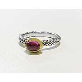 Vintage Rare David Yurman Gold & Sterling Pink Tourmaline Ring
