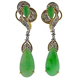 Gold Diamond Jade Drop Earrings