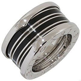 Bulgari Bvlgari B.ZERO1 3-band Black Enamel Ring in White Gold US3.5