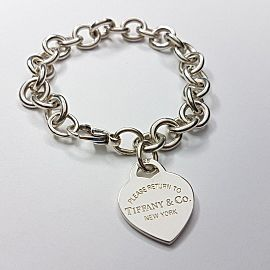 Tiffany & Co Sterling Silver Return To Tiffany Heart Tag Charm Bracelet