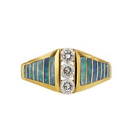 Kabana Opal and Diamond Ring 14k Yellow Gold