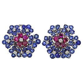 Van Cleef & Arpels Ruby Diamond Sapphire Flower Earrings Clip Set