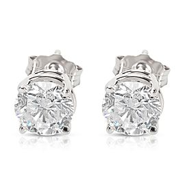 BRAND NEW 4 Prong Basket Diamond Stud Earrings in 14K White Gold (1.42 CTW)