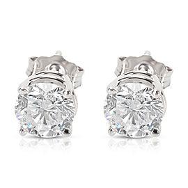 BRAND NEW 4 Prong Basket Diamond Stud Earrings in 14K White Gold (1.42 CTW)