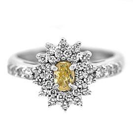 14k White Gold DIamond Yellow Stone Ring