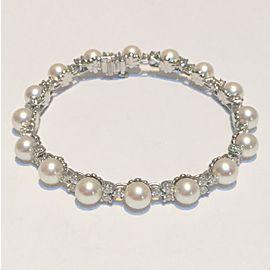 Tiffany Aria Bracelet Platinum Diamond and Cultured Akoya Pearl