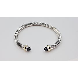 David Yurman Cable Classic Sterling Silver 14K Yellow Gold Onyx Bracelet