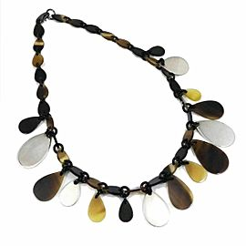 HERMES Buffalo Horn Silver Line Rajani Drop Necklace CHAT-146