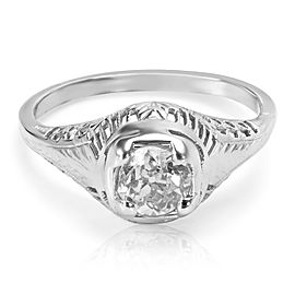 Estate Old Miners Diamond Engagement Ring in 18KT White Gold 0.60