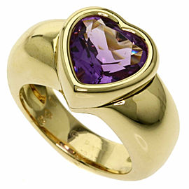 PIAGET 18K Yellow Gold Doll Heart Amethyst Ring
