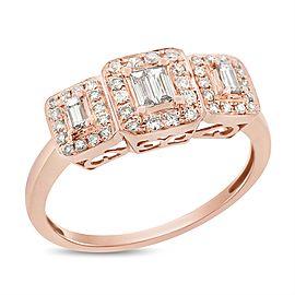 14k Rose Gold 0.55 Ct. Natural Diamond 3 Stone Emerald Halo Illusion Ring Size 9.25