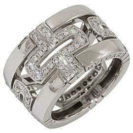 Bulgari Bvlgari Pave Diamonds Open Parentesi Ring 18k White Gold