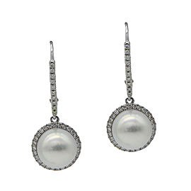 14K White Gold South Sea Cultured Pearl and Diamond Drop Earrings