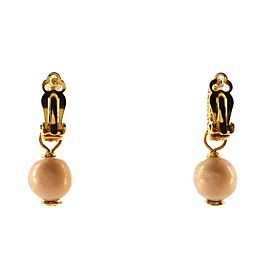 Chanel CC Pearl Drop Hoop Clip-On Earrings Crystal Embellished Metal with Faux Pearls