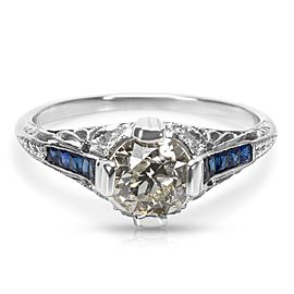IGL Certified Art Deco Estate Diamond and Sapphire Engagement Ring in Platinum