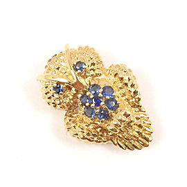 Tiffany & Co. 18K Yellow Gold Blue Sapphire Owl Textured Brooch