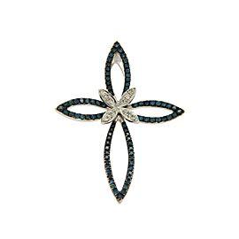 Effy 14K White Gold White and Green Diamonds Butterfly Cross Pendant