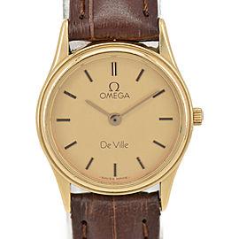 OMEGA de vill gold Dial GP/Leather Quartz Ladies Watch