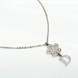 Christian Dior Metal Flower Pendant Necklace