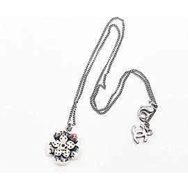 Chanel Rare Ivory Black Polka Dot Flower Beetle Gunmetal Chain Necklace