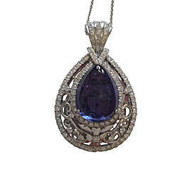 Michael Christoff 18K White Gold 21.93ct Tanzinite and Diamond Necklace