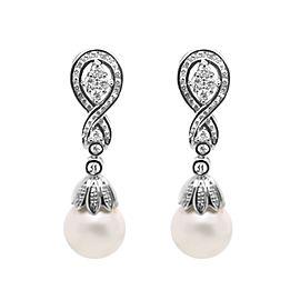 14k White Gold Pearl Drop Diamond Earrings