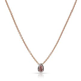 GIA Certified Fancy Intense Pink I1 Pear Diamond Necklace in 14KT Gold 0.50 Ct