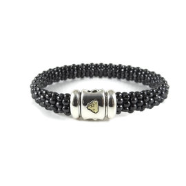 Lagos Caviar Sterling Silver and 18K Yellow Gold Black Beaded Bracelet