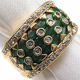18k yellow gold/Emerald/diamond Ring