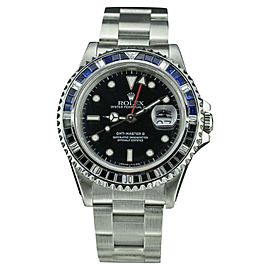 Rolex GMT Master II 16710 Stainless Steel / 18K White Gold with Black Dial 40mm Mens Watch