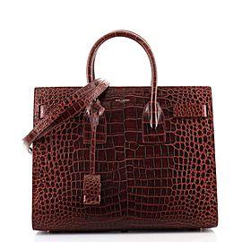Saint Laurent Sac de Jour NM Bag Crocodile Embossed Leather Small