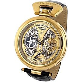 Stuhrling Emperor's Grandeur Gold-Tone Stainless Steel & Leather 48.9mm Watch