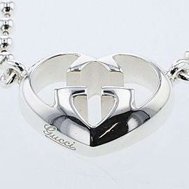 GUCCI 925 Silver Heart interlocking Necklace TBRK-466