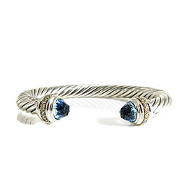 David Yurman Cable Classics Bracelet Sterling Silver Blue Topaz Diamond