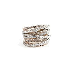 18K White ~ Rose Gold 3.68tcw Custom Made 10-Row Diamond Crossover Ring