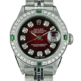 Rolex Datejust 6917 Stainless Steel with Red Vignette Dial Vintage 26mm Womens Watch