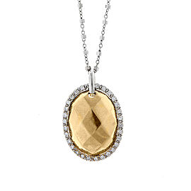Alor 18K White Gold w. Yellow Gold FACET CENTER Necklace