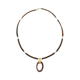 Alor 18K yellow gold /Stainless steel & Bronze-Black PVD Cable with champange diamonds .09cts Necklace