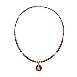 Alor 18K yellow gold /Stainless steel & Bronze-Black PVD Cable With champange diamonds .09 cts Necklace