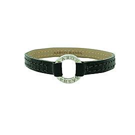 Aaron Basha 18K White Gold and Black Aligator Leather Bracelet