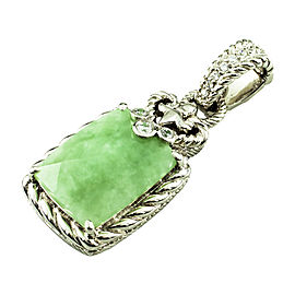 Judith Ripka 925 Sterling Silver with Jade and Cubic Zirconia Pendant